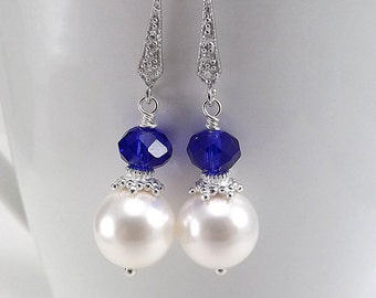 Sterling Silver Earrings - White Swarovski Glass Pearls and Royal Blue Chinese Crystals