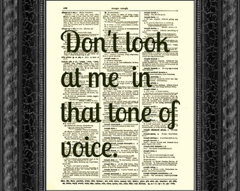 Dictionary Art Print, Dorothy Parker Print, Text Art, Upcycled Dictionary Page, Dorothy Parker Quote, Tone of Voice