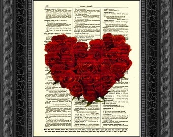Valentine's Day Rose Heart Dictionary Print, Rose Dictionary Art Page, Wall Decor, Art Print