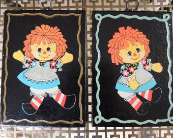 Set of 2 Vintage Raggedy Ann Wooden Plaques Black With Bright Colors