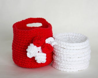 Makeup Remover Cloths with Storage Basket Crochet Basket with Face Scrubbies