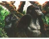 The Guardian - Folding Greeting Card - Gorilla family in the jungle