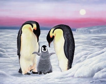 "Look Who's Walking 16"" x 12"" Print of Penguin Family."