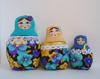 A Set of Turquoise cloth Matryoshkas (Russian babushka dolls)
