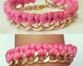 Molten Pink Woven Gold Chain MINI bracelet