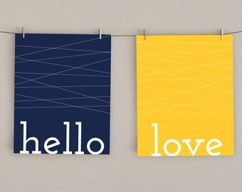 Hello Love Home Decor Art Print -   Navy Blue and Mustard Yellow, 8x10