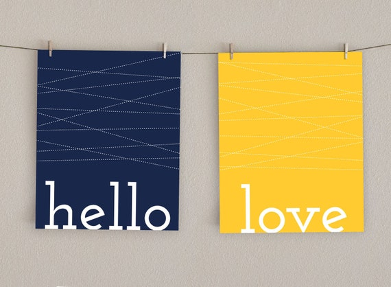 Items Similar To Hello Love Home Decor Art Print Navy