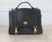 Authentic Vintage Court Coach Black  Leather Messenger Bag  with Shoulder Strap B6C-9870 COACHCOUPON at checkout save 10 Percent