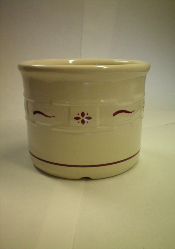 Vintage Pottery - 1 Pint Salt Crock -  Longaberger - Woven Traditions Pattern - Discontinued - Red