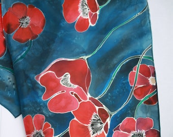Hand painted silk scarf.