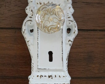 Wall Hook/Shabby Chic Hook/Door Knob Decor/Pale Blue or Pick Your Color/ Cast Iron Hook/ Cottage Style/ Towel Hook/ Key Hanger/ Jewelry Hook
