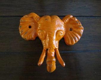Elephant Wall Hook / Cast Iron Elephant Decor / Headband Organizer / Bright Orange or Pick Color / Kid's Nursery Room / Safari Wall Decor