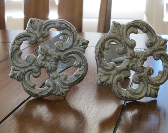 Curtain Tiebacks / Cast Iron Tie Backs / Drapery Tie Backs /Silver or Pick Your Color /Cottage Chic / Shabby Chic / French Country Style