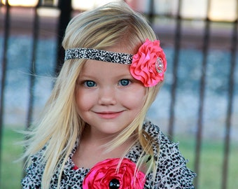 Girl's Hot Pink Cabbage Rosette with a Rhinestone in the Middle on a Black & White Damask Headband