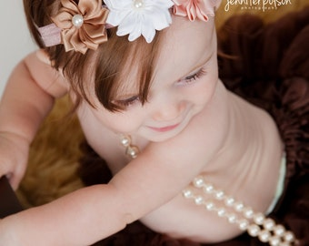 Girl's Satin Flower and Pearl Headband in Shades of Tan & White