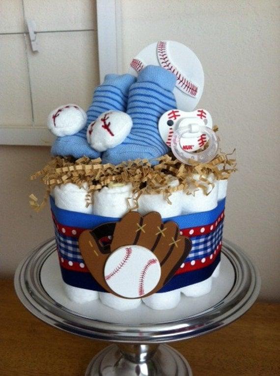 Red, White and Blue Baseball Mini Diaper Cake - Baby Boy Shower Gift, Single Tier