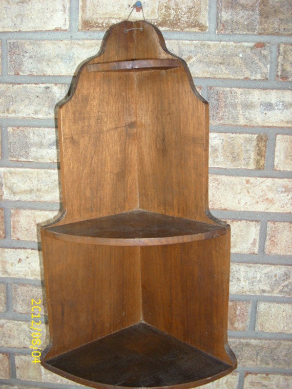 Vintage Wooden 3 Tier Corner Shelf