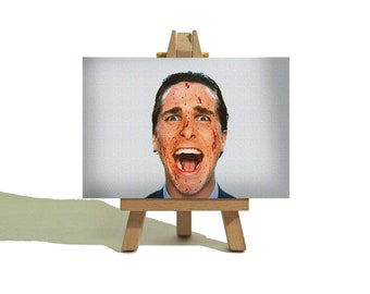 AMERICAN PSYCHO Mini Canvas - Christian Bale - Patrick Bateman - Awesome Miniature Canvas and Easel Set - The Perfect Gift