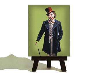 WILLY WONKA and the Chocolate Factory - Awesome Vintage Miniature Canvas and Easel Set - Perfect Gift