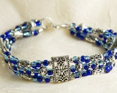 Multi-Strand Pewter and two-tone Cobal Blue and Aqua Blue Czech Glass Seed Bead Bracelet