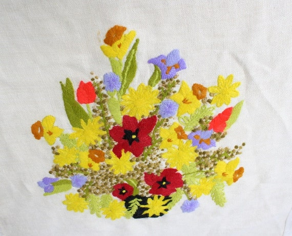 Crewel Embroidery, Vintage Crewel, Yellow Floral Design, Needlework, Needlecraft, Textile, Wall Hanging, 1970s