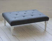 Large Bespoke Footstool in Grey Wool with Surface Buttons and White Legs