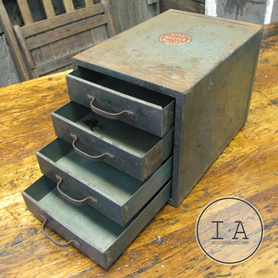 Vintage Industrial Wards Tool Chest Desktop Size Jewelry Box