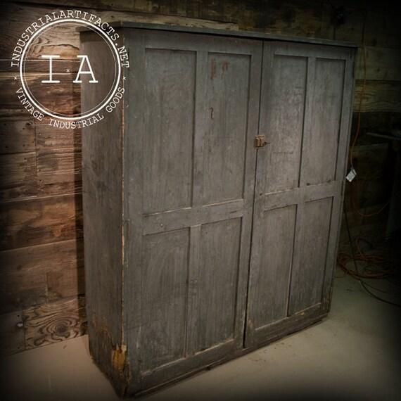 Antique wooden file clerks storage cabinet shelving unit