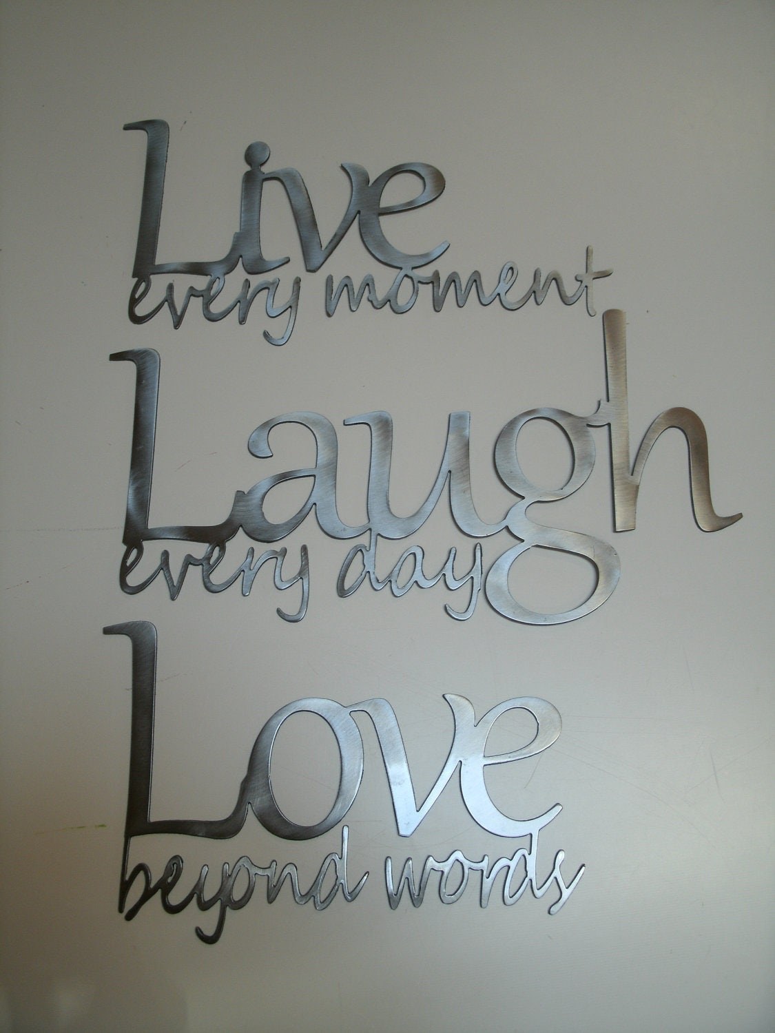 Live Laugh Love Metal Wall Art Polished Steel