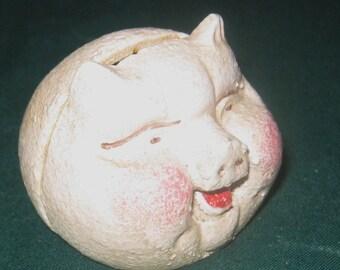 vintage piggy bank round
