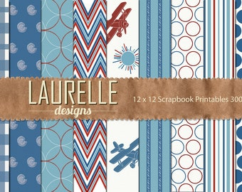 Printable Red & Blue Vintage Plane Scrapbook