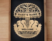 Personalized Birth Certificate - UNFRAMED - Laser cut - papercut poster
