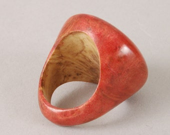 Crimson Dyed Olive Burl Ring