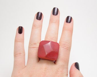 Deep Vermilion Red Faceted Maple Ring