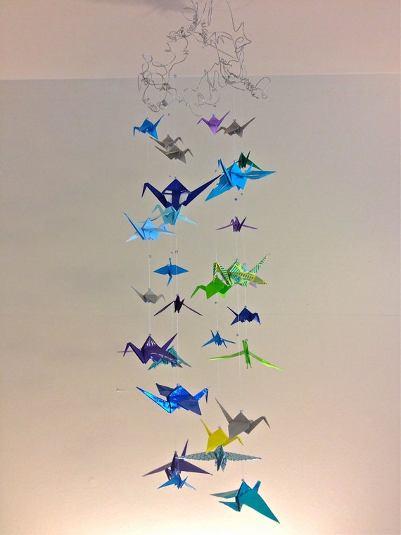 Origami Crane Mobile Hanging from Wire Base