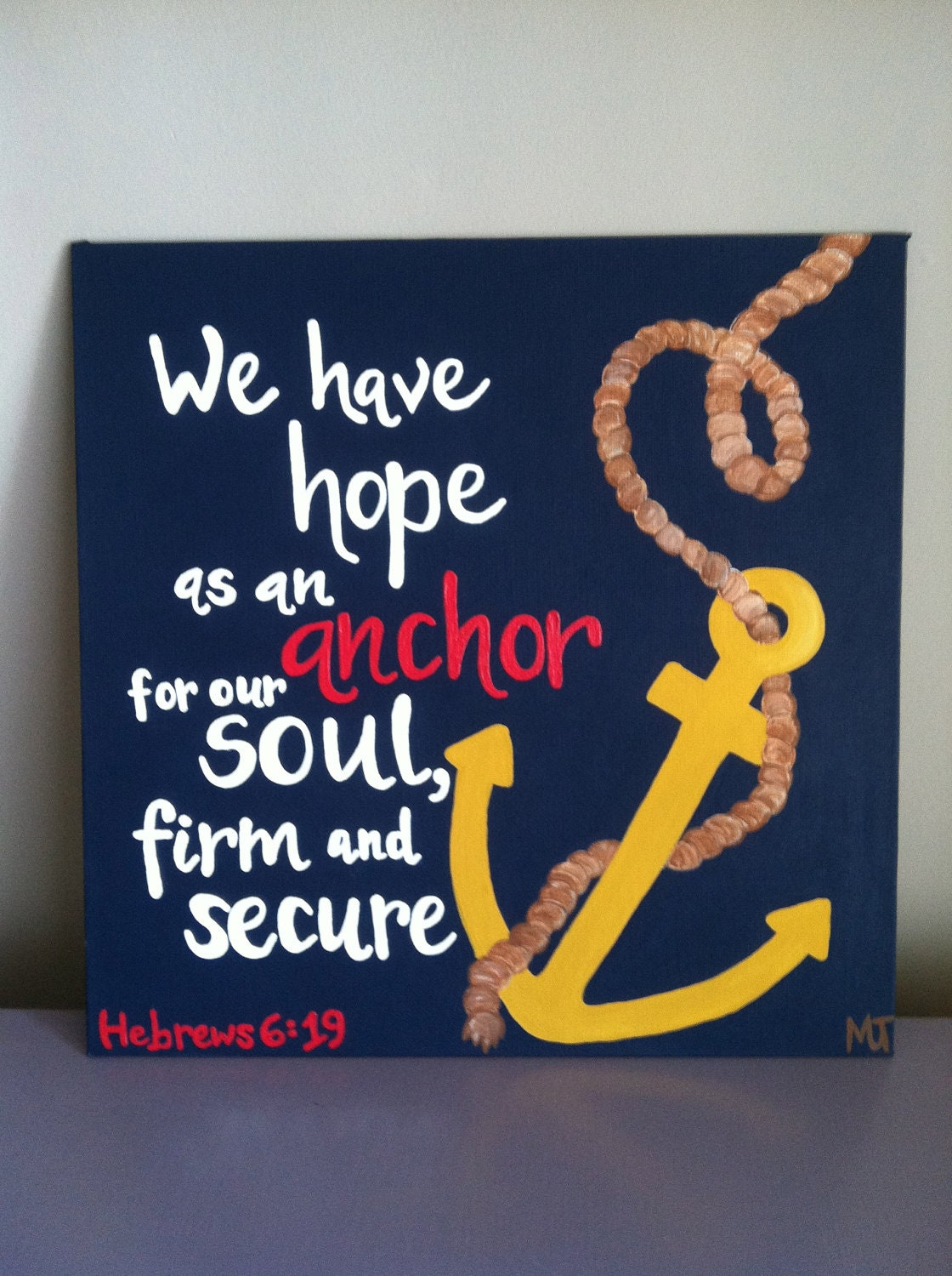 hebrews 6 19 bible verse art 12x12 hand painted canvas panel