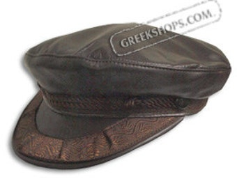 Leather Greek Fisherman's Hat - Brown