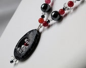 Black and red stones with crystal necklace -- fashion jewelry