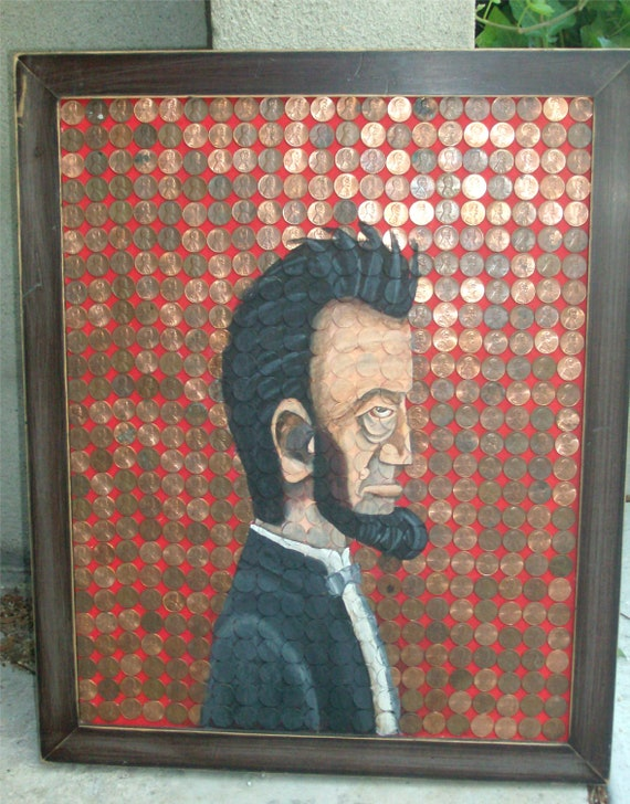 Original Painting- Abe Lincoln Pennies