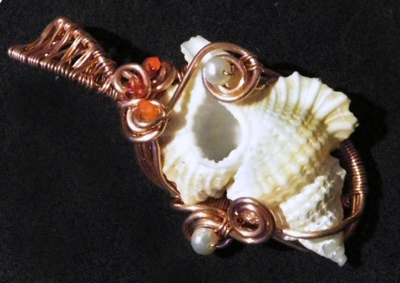 The Mermaid Goddess - Handmade Copper Conch Seashell Pendant with Freshwater Pearls, Garnet & Carnelian