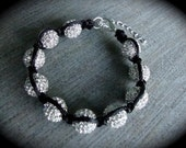 Iced Out White Swarovski Pave Ball Macrame Bracelet With Silver Clasp