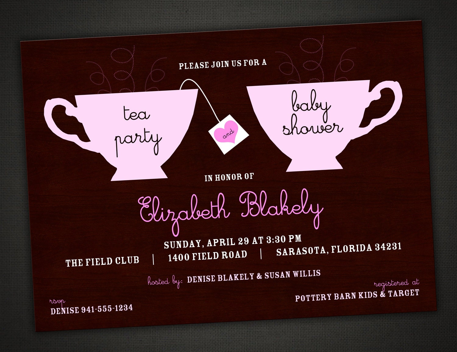 tea party baby shower invitation personalized by idesignthat