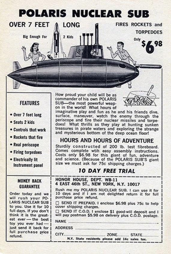 Vintage POLARIS Nuclear SUBMARINE Ad 1960's