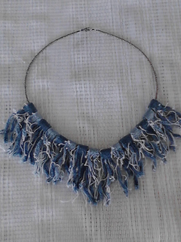 Denim Blue Jean Rag Quilt Bead Necklace Silver Raggy Frayed