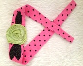 hot pink and black polka dot headwrap, rose headband, baby headband, flower headband, adult headband, child headband and photography prop