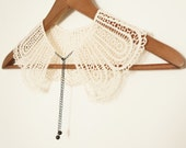 Handmade White Crochet Cotton Lace Collar Necklace Applique Black Chain  Blouse Accessories