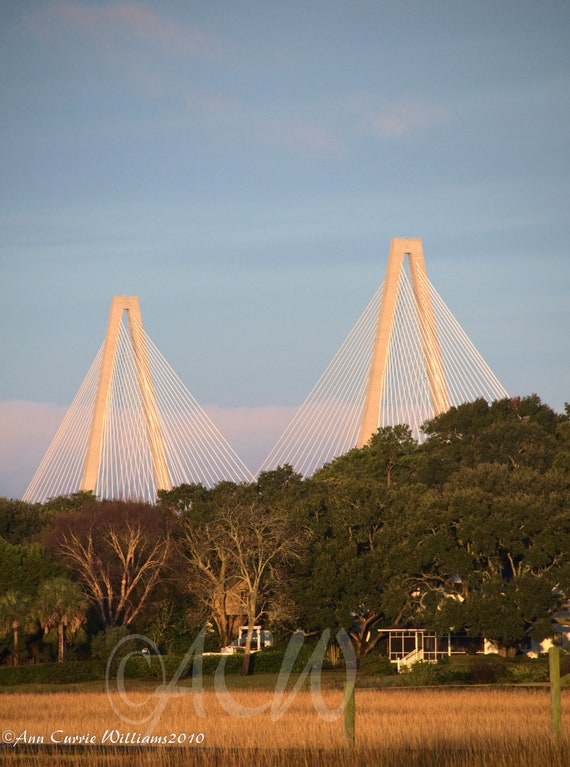 Ravenel Bridge at dawn, Mt Pleasant, South Carolina (PR) (canvas)