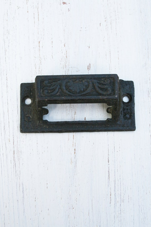 Antique Cast  Iron Pharmacy Drawer Pull with Label Space - Vintage Hardware