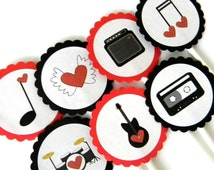 12 Rock of Love Cupcake Toppers. Rockstar Theme. Guitar Birthday. Rock of Love. Valentine's Toppers.