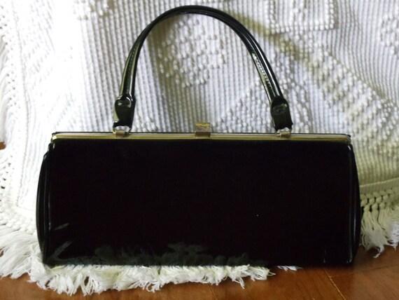 Vintage Black Patent Leather 60's Purse Handbag Mod Fashion Retro Display